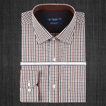 Men Formal 100% Cotton Shirt - Brown