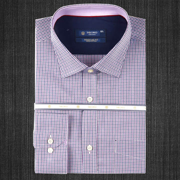 Men Formal 100% Cotton Shirt - Purple