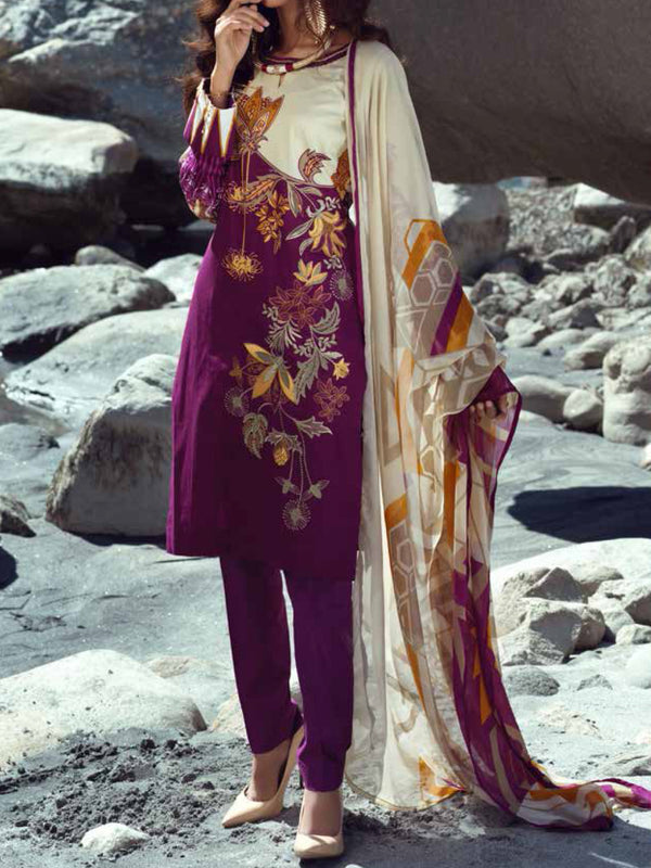 Silkoria Chiffon Embroidered Un-Stitched Suit - 188B