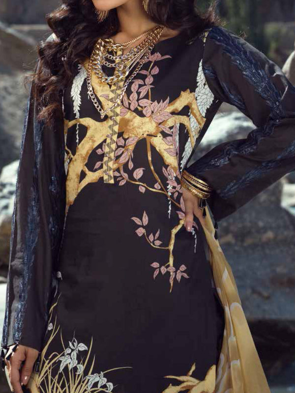 Silkoria Chiffon Embroidered Un-Stitched Suit - 190A