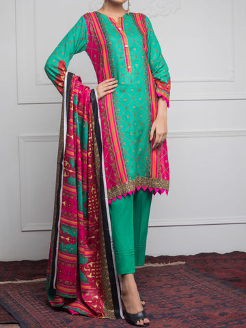 Rangreza Printed Cotton Un-Stitched Suit - ZS01