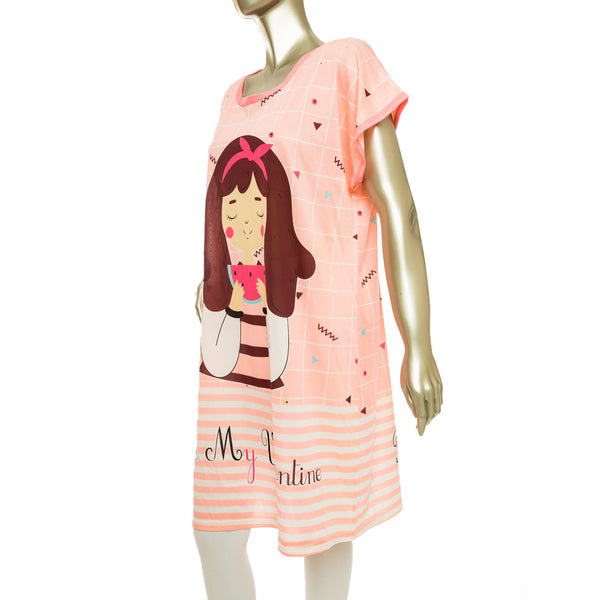 Women Long Night Printed Shirt - Peach