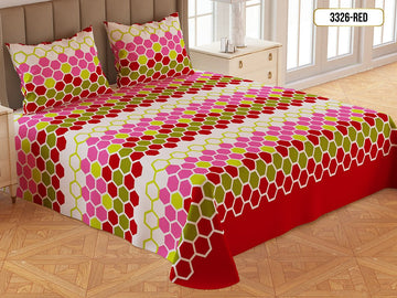 Printed Gold Double Bed Sheet-3326