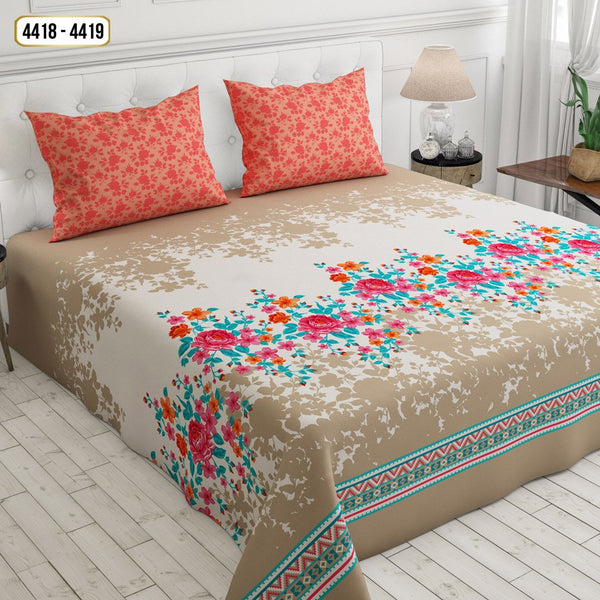 Printed Cotton Double Bed Sheet-4418-4419