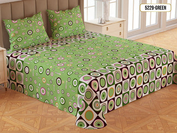 Printed Gold Double Bed Sheet-5229