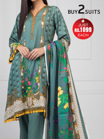 Rangreza Printed Cotton Un-Stitched Suit - ZS08