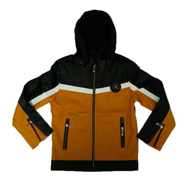 Hooded Leather/PU Jacket
