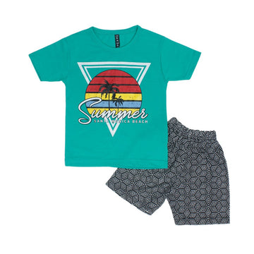 Graphic Tee Crew Neck Half Sleeve & Short