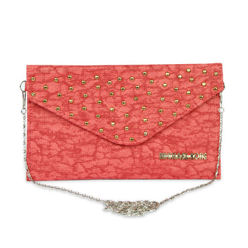 Women Fancy Studs Clutch - Pink