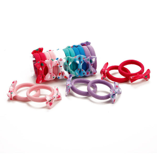 Hair Bow Pony Pack Of 12 - Multi