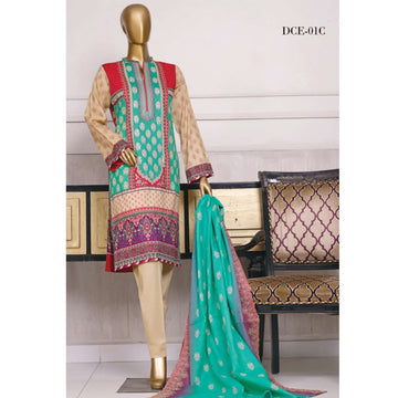 Unstitched 3 PC Embroidered Lawn Suit
