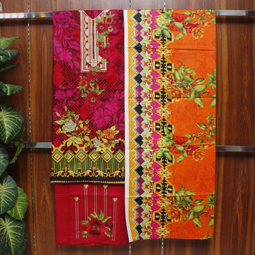 Embroidered Lawn 3pc Unstitched Suit SHL 1A