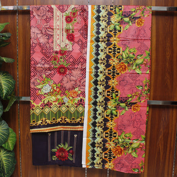 Embroidered Lawn 3pc Unstitched Suit SHL 1D
