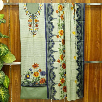 Kasturi Cotton Printed 3pc Unstitched Suit