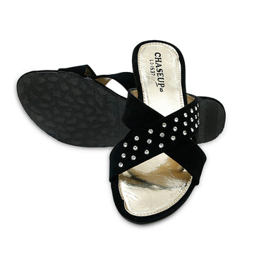 Women Slippers-LL1537- Black