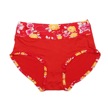 Women Essential Printed Panty - Red
