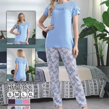 Women Flourish Knitted Night Suit - Sky Blue