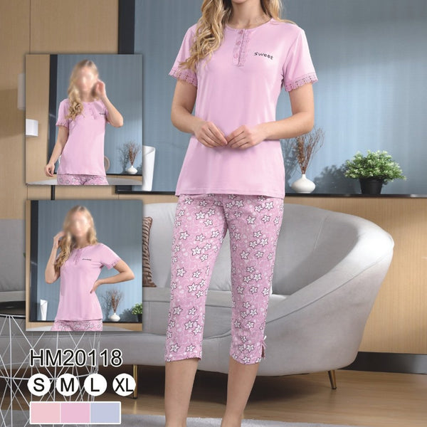Women Flourish Knitted Night Suit - Pink