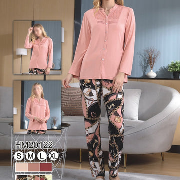 Women Flourish Knitted Night Suit - Tea Pink