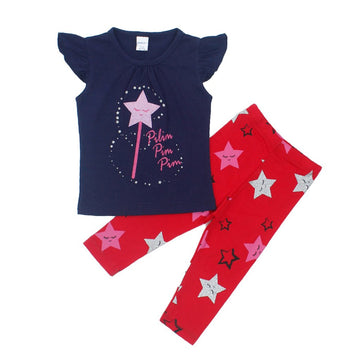 Graphic Tee Crew Neck Half Sleeve & Legging