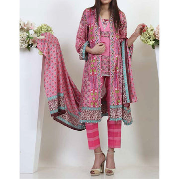 Unstitched 3pc Printed Lawn Suit