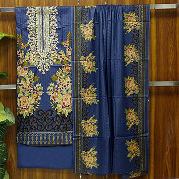 Cotton Embroidered Unstitched 3pc Suit
