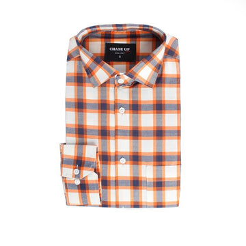 Men Formal Check Shirt Regular Fit - Orange