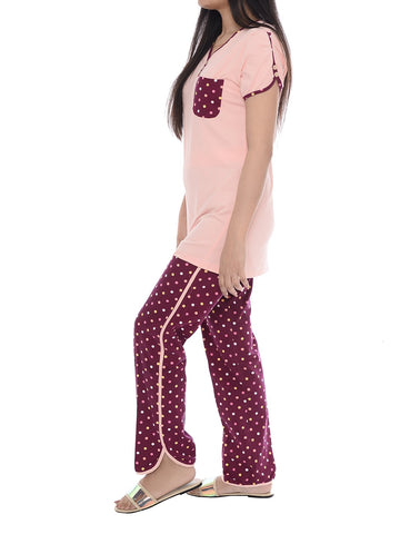 Tea Pink Women Night Suit