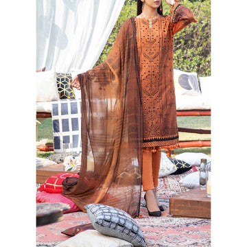 Z'URE 3PC Unstitched Printed Embroidered Lawn Suit WK-00697-A