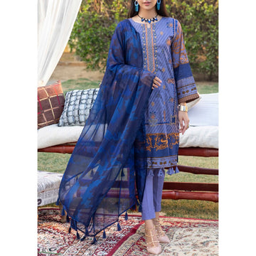 Z'URE 3PC Unstitched Printed Embroidered Lawn Suit WK-00698-A