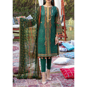 Z'URE 3PC Unstitched Printed Embroidered Lawn Suit WK-00699-A