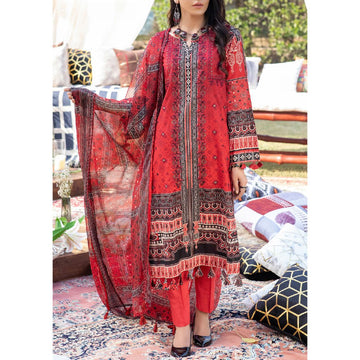Z'URE 3PC Unstitched Printed Embroidered Lawn Suit WK-00700-A