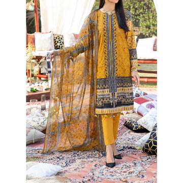 Z'URE 3PC Unstitched Printed Embroidered Lawn Suit WK-00700-B