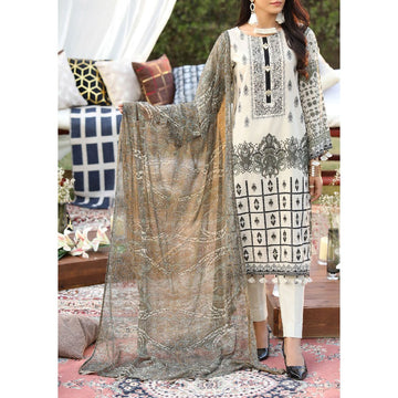Z'URE 3PC Unstitched Printed Embroidered Lawn Suit WK-00701-B