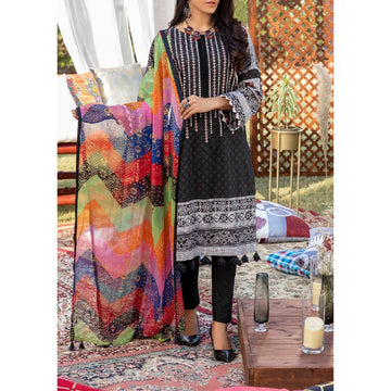 Z'URE 3PC Unstitched Printed Embroidered Lawn Suit WK-00702-A