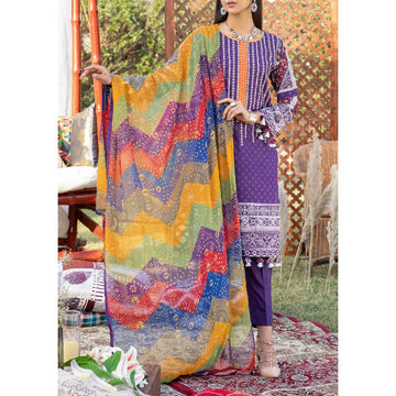 Z'URE 3PC Unstitched Printed Embroidered Lawn Suit WK-00702-B