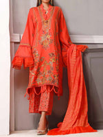 Ittehad Ethnic Bloom Un-Stitched Embroidered Suit-Wild Strawberry