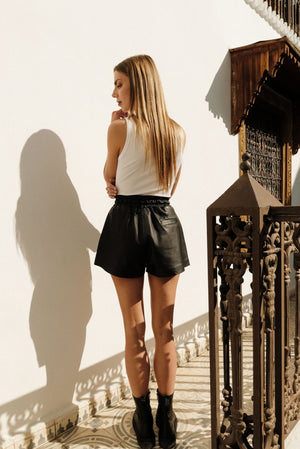 Maya leather shorts