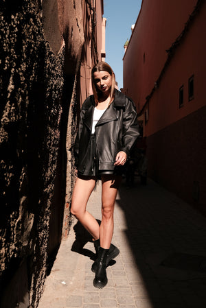 The oversized biker jacket