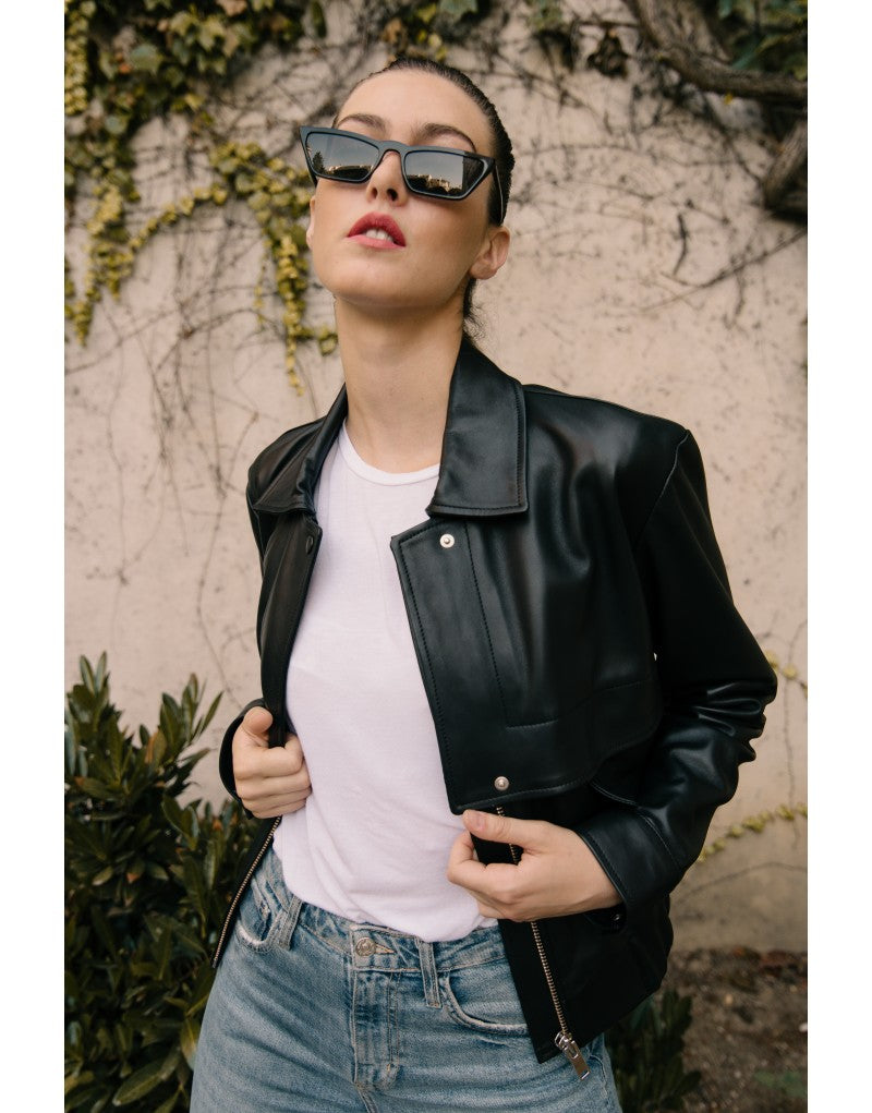 Eva leather bomber