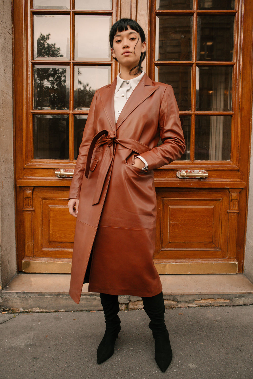 The long leather trench coat