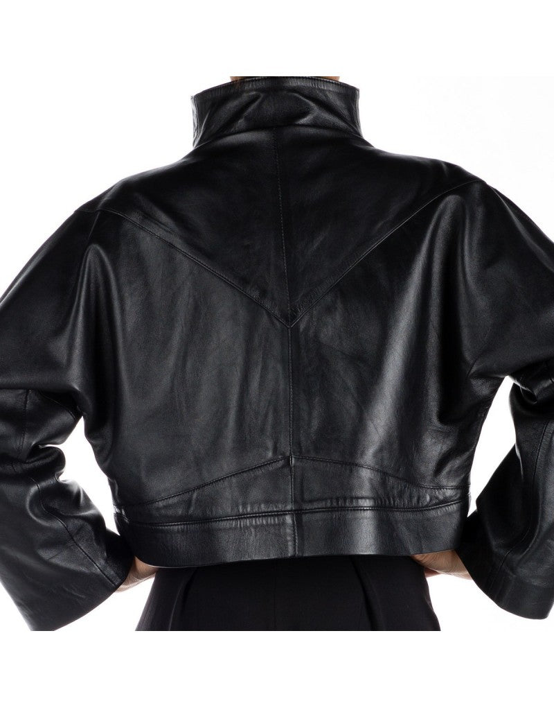 Hanae leather oversize jacket