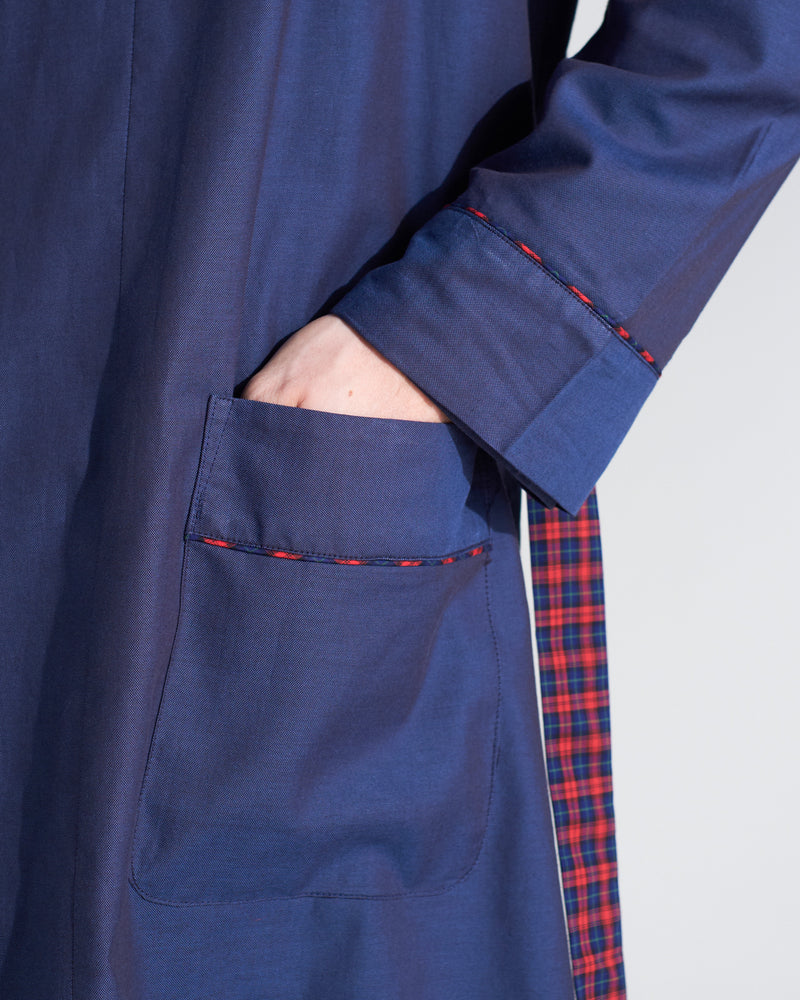 Bogart Dark Blue and Tartan Reversible Robe