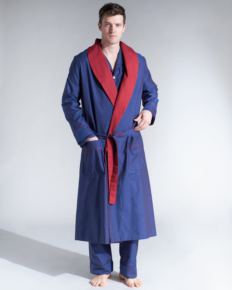 Bogart Red & Dark Blue Reversible Robe