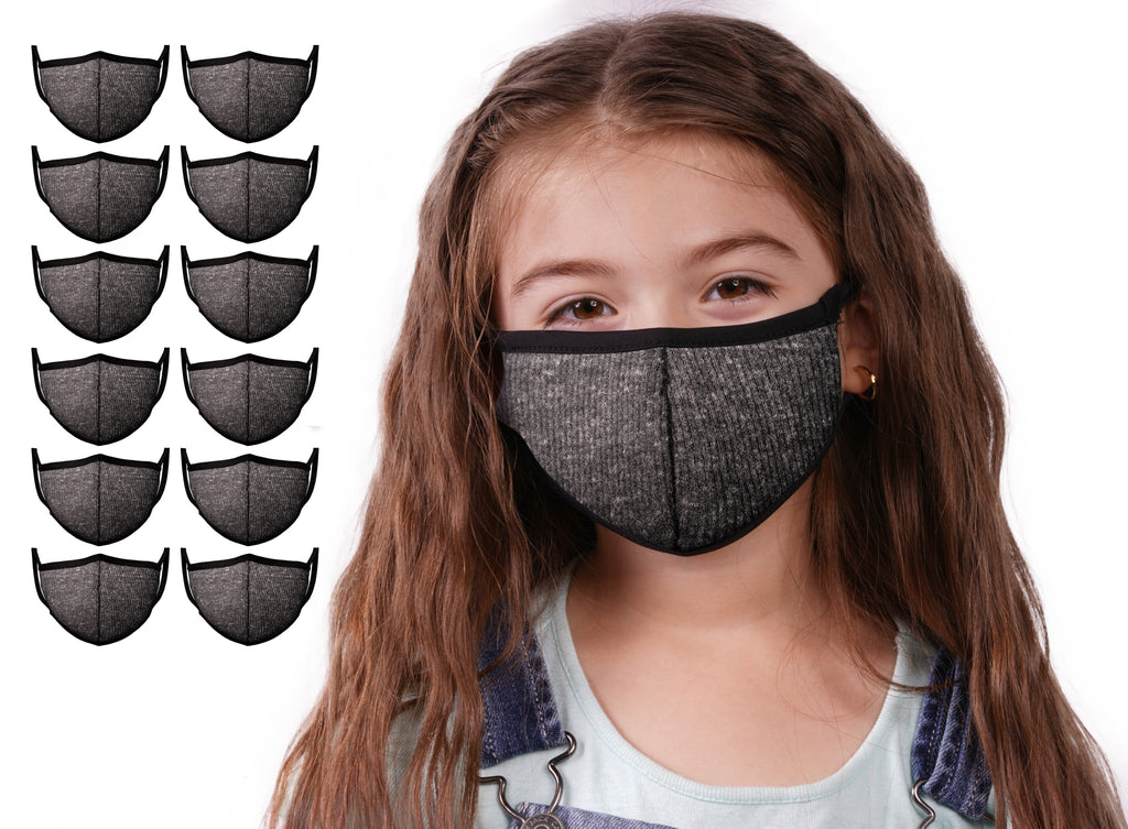 Mason Brand Masks Dark Grey 12 Pack | Face Mask | 100% Cotton | Made in USA | Reusable | Comfy Protective Washable Covering Cloth - Mason Brand Mask