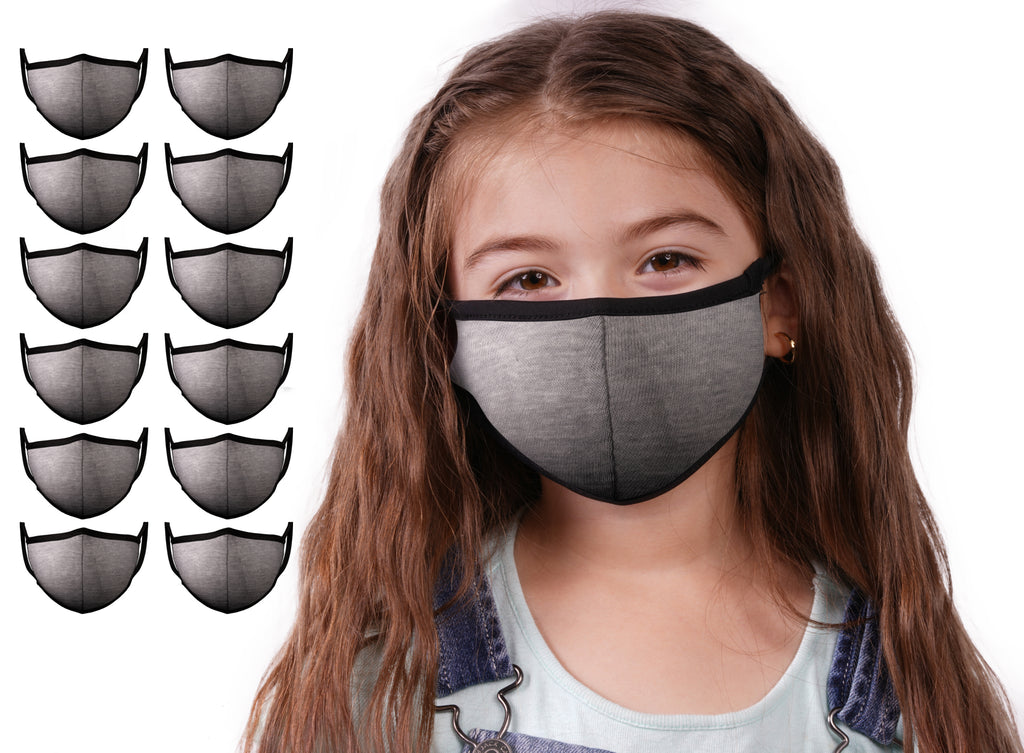 Mason Brand Masks Grey 12 Pack | Face Mask | 100% Cotton | Made in USA | Reusable | Comfy Protective Washable Covering Cloth - Mason Brand Mask