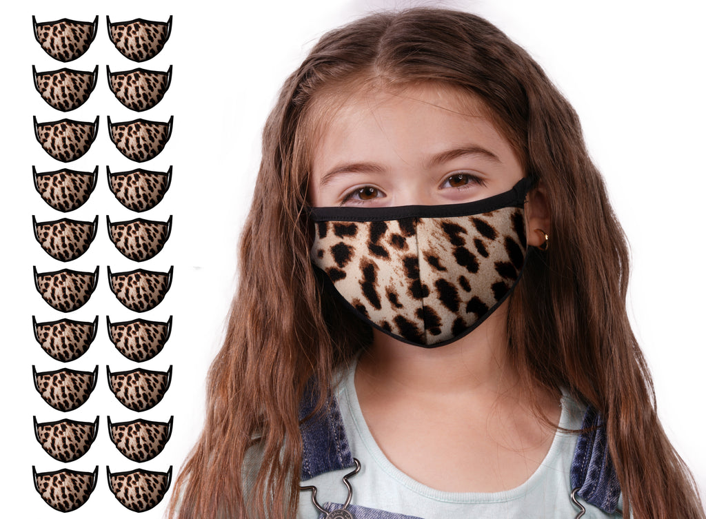 Mason Brand Masks Cheetah 20 Pack | Face Mask | 100% Cotton | Made in USA | Reusable | Comfy Protective Washable Covering Cloth - Mason Brand Mask