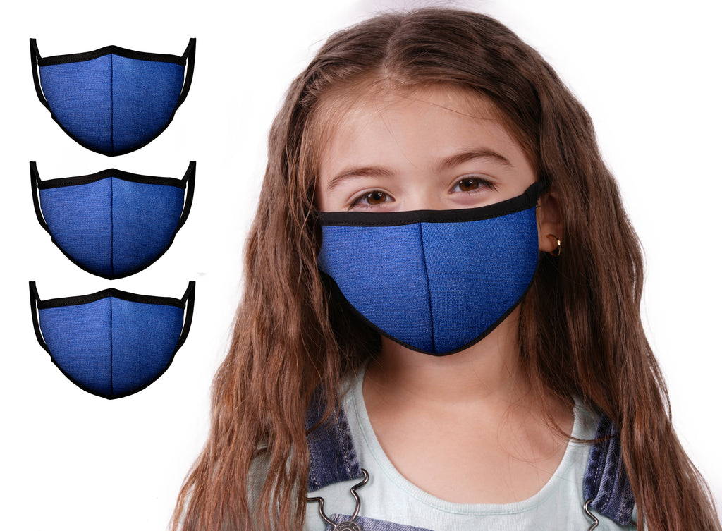 Mason Brand Masks Blue 3 Pack | Face Mask | 100% Cotton | Made in USA | Reusable | Comfy Protective Washable Covering Cloth - Mason Brand Mask