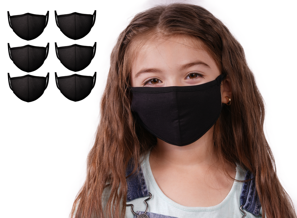 Mason Masks 6 Pack Black Pack Protective Face Mask - Kids | 100% Cotton Face Masks | Made in USA | Multi-Layered Masks for Germ Protection, | Reusable | Kids - Mason Brand Mask