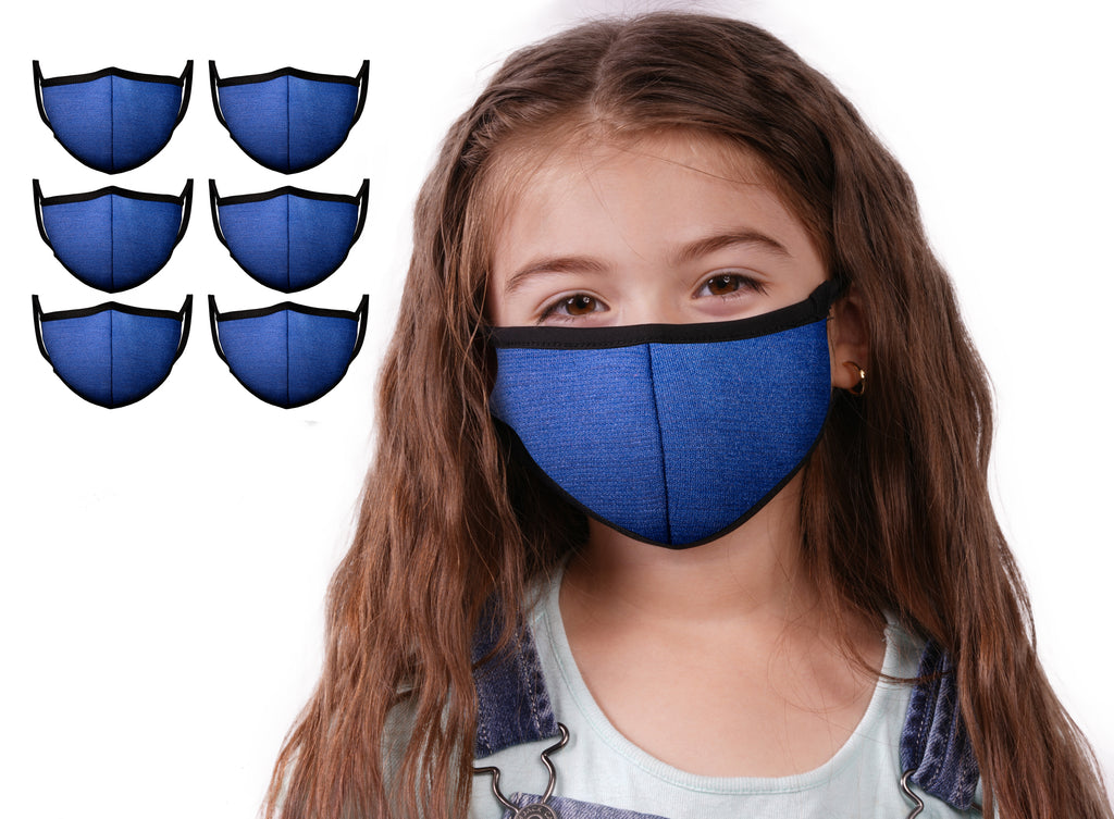 Mason Brand Masks Blue 6 Pack | Face Mask | 100% Cotton | Made in USA | Reusable | Comfy Protective Washable Covering Cloth - Mason Brand Mask
